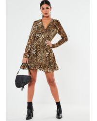 Missguided Brown Leopard Ruffle Hem Wrap Tea Dress