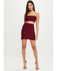 Missguided Red Burgundy Bandage Co Ord Mini Skirt