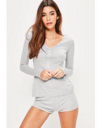 Missguided - Gray Grey Ribbed Top & Shorts Pyjama Set - Lyst