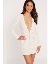 Missguided White Premium Lattice Lace Zip Up Bodycon Dress Nude