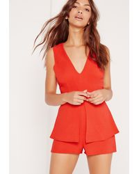 Missguided - Black Crepe Sleeveless Origami Playsuit Red - Lyst