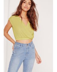 Missguided Sleeveless Crop Wrap Blouse Chartreuse Green