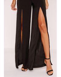Missguided Wide Leg Hammered Satin Split Trousers Black