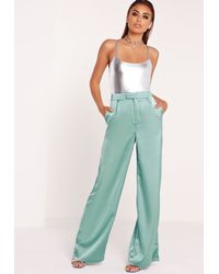 Missguided Silky Wide Leg Pants Duck Egg Blue