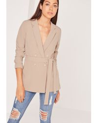 Missguided Multicolor Double Breasted Tie Waist Blazer Tan