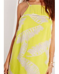 Missguided - Palm Print Swing Dress Yellow - Lyst