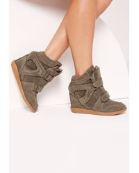 Missguided Multicolor Wedge Velcro Strap High Top Trainers Khaki