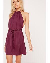 Missguided - Halterneck Satin Dress Purple - Lyst