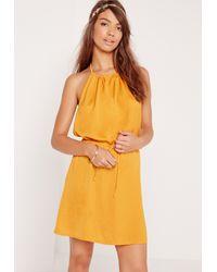 Missguided - Halterneck Satin Dress Yellow - Lyst