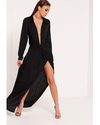 Missguided | Wrap Front Shirt Maxi Dress Black | Lyst
