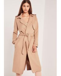 Missguided Natural Raw Seam Faux Suede Trench Coat Nude