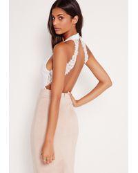 Missguided Keyhole Front Lace Trim Bodysuit White