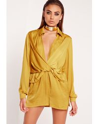 Missguided Yellow Satin Wrap Romper Chartreuse