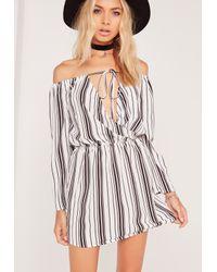9b5973326f Lyst - Missguided Bardot Stripe Skater Dress White in White