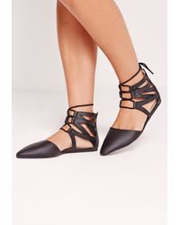 Missguided Ghille Mesh Lace Up Flat Shoes Black