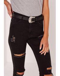 Missguided Western Single Buckle Belt Black