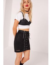 Missguided Faux Suede Eyelet Detail Lace Up Skirt Black