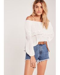 206c93fb761cd Lyst - Missguided Crochet Trim Frill Bardot Top White in White