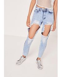 Missguided Riot High Rise Open Thigh Rip Mom Jean Blue