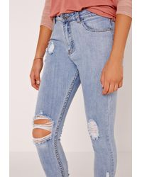 Missguided Sinner High Waisted Destroyed Hem Skinny Jeans Blue