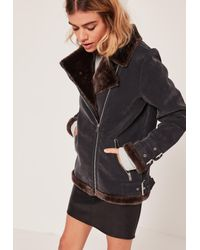 Missguided | Black And Brown Faux Fur Lined Aviator Jacket | Lyst