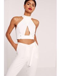 Missguided | Buckle Waist Wrap Crop Top White | Lyst