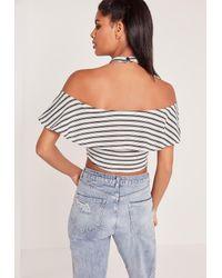 Missguided Multicolor Halterneck Striped Bardot Crop Top White