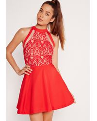 Missguided Mesh Stripe Lace Top Skater Dress Red