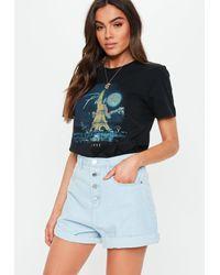 Missguided Black Paris Graphic T Shirt