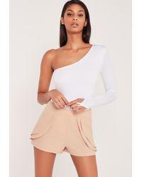 Missguided Carli Bybel One Shoulder Long Sleeve Thong Bodysuit White