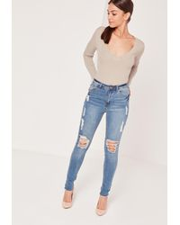 Missguided Blue Nude Plunge Knitted Bodysuit