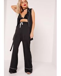 Missguided Pyjama Style Wide Leg Trousers Black