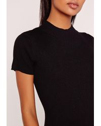 Missguided Basic Short Sleeve High Neck Bodysuit Black