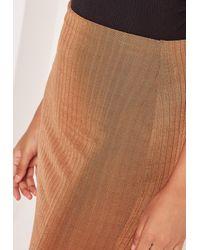 Missguided Multicolor Wide Rib Midi Skirt Tan