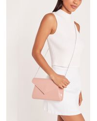 Missguided Patent Envelope Clutch Bag Blush Pink