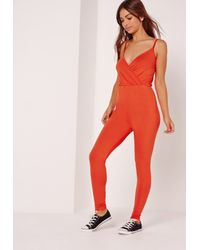 Missguided Jersey Wrap Romper Orange