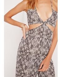 Missguided - Multicolor Chiffon Snake Waist Cut Out Jumpsuit Grey - Lyst