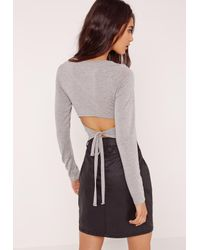 Missguided Gray Open Tie Back Top Grey