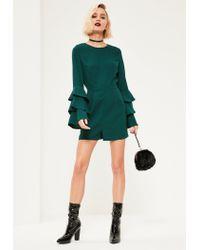 Missguided - Green Triple Frill Sleeve Romper - Lyst