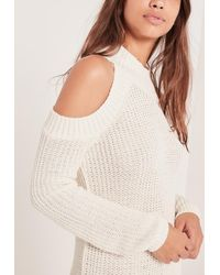 Missguided | Cold Shoulder Chunky Stitch Mini Dress White | Lyst