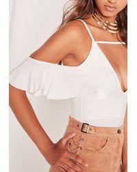 Missguided Slinky Frill Cold Shoulder Bodysuit White