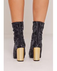 Missguided Crushed Velvet Block Heeled Boots Black