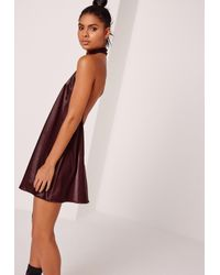 Missguided Multicolor Sarah Ashcroft Silky Choker Neck Swing Dress Burgundy