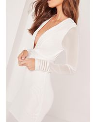 Missguided Long Sleeve Mesh Plunge Midi Dress White