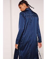 Missguided Eyelet Duster Jacket Blue