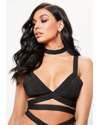 Missguided Black Bandage Strappy Mesh Insert Bikini Set