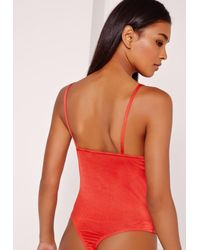 Missguided Strap Harness Detail Bodysuit Red