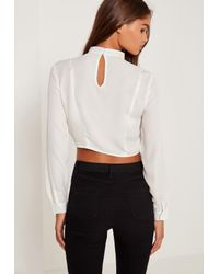 Missguided Choker Neck Tie Front Crop Top White
