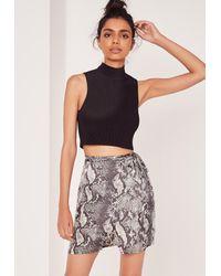 Missguided Multicolor Snake Print Wrap Mini Skirt
