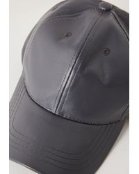 Missguided - Gray Faux Leather Baseball Cap Grey for Men - Lyst